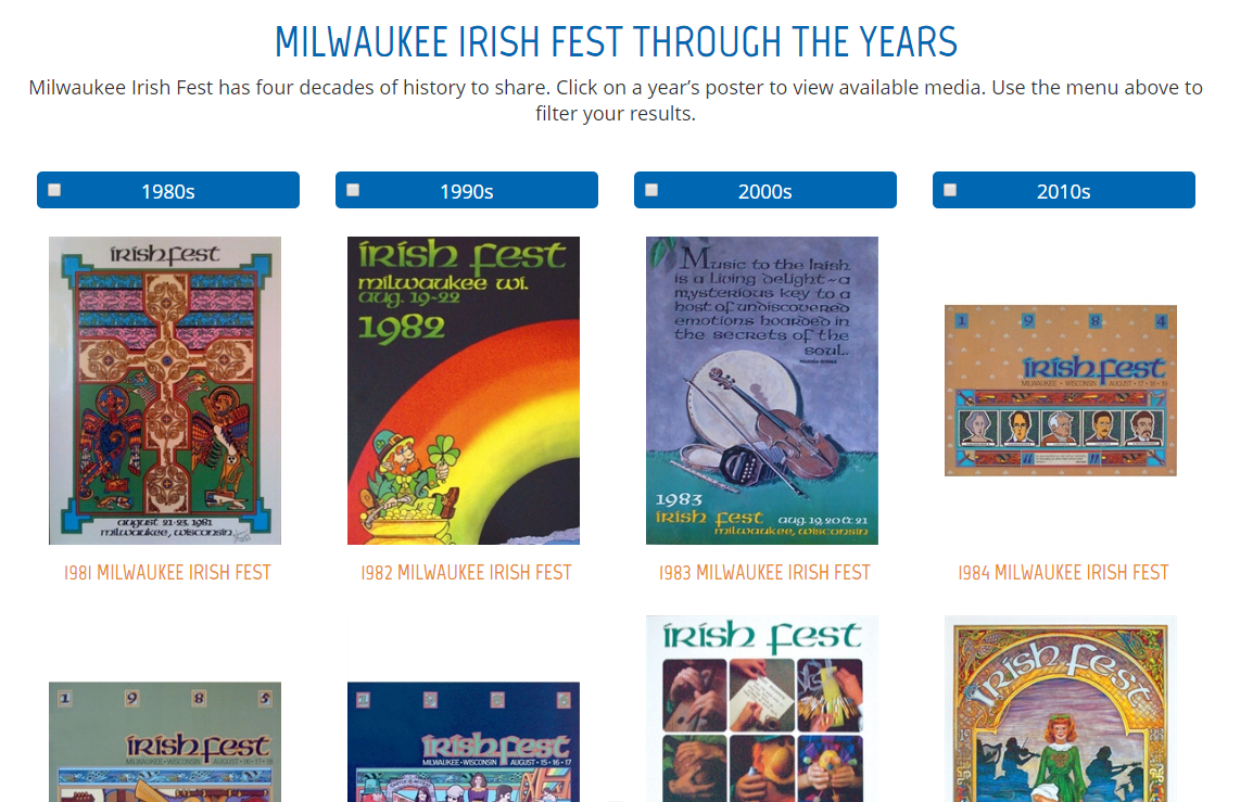 Milwaukee Irish Fest Landing Page